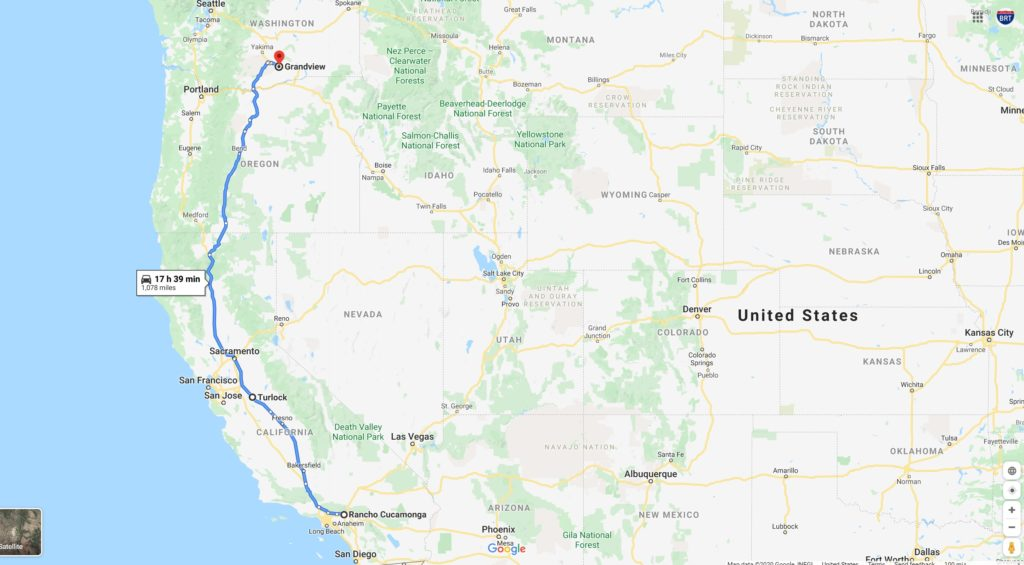 Feb 21 - Feb 23 Rancho Cucamonga, California - Turlock, California - Grandview, Washington (1090 miles) bigrigtravels trip