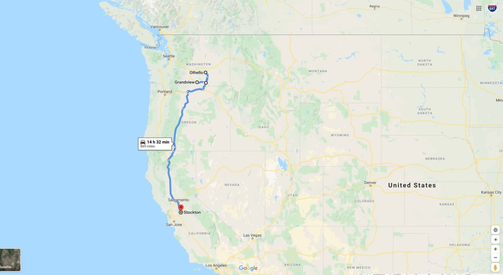 Grandview, Washington - Othello, Washington - Stockton, California (868 miles) bgrigtravels trip feb 24, 2020
