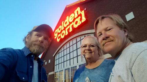 While the truck was in for service,  Mickey, Dave, and BigRigSteve had dinner in Denver,  Colorado on May 14, 2019