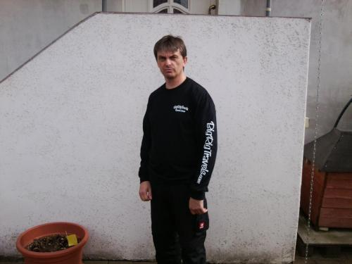 April 2012Jens, a German trucker, sporting his new first edition Road Crew shirt!